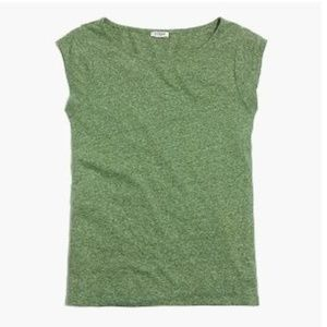 J Crew Heather Green Linen Blend Cap Sleeve Tee, M